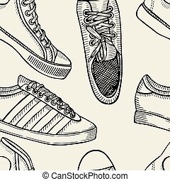 pattern of shoes - sneakers. background. - Hand drawn sketch...