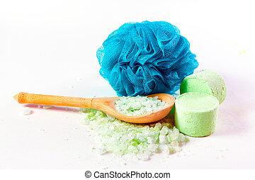 Washcloth and sea salt for taking a bath