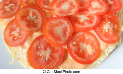 Tomato Slices Layer - Layer of tomato slices on crepes with...