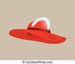Womans summer red straw hat isolated style clothing cap accessory with feather illustration