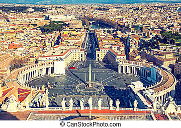 Aerial view of Rome from Saint Peter's cathedral