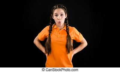 Emotional girl in orange clothes, stop motion animation on...