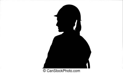 Silhouette Female engineer in safety helmet sitting and...