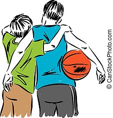 boys friends with a basket ball illustration