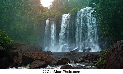 Water Flows over Natural Waterfall in Cambodia with Sound -...