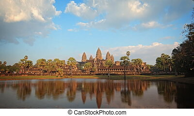 Abstract, Timelapse Flyby of Angkor Wat Temple in Cambodia -...