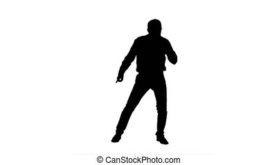 Silhouette Happy man performing dance. 076s. You can use it...