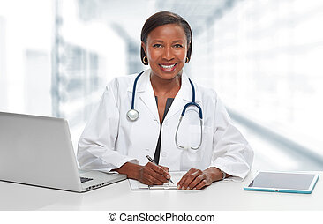 African-American doctor woman.