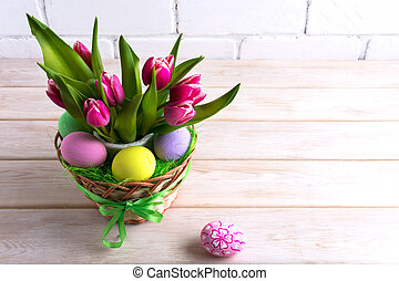 Easter table centerpiece with pastel color hand painted...