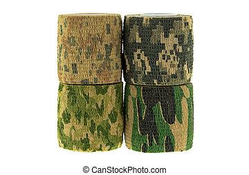tyg, mönster, isolerat, Kamouflage, Närbild, bandage,...