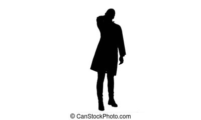 Silhouette Young female tired and suffer from headache....
