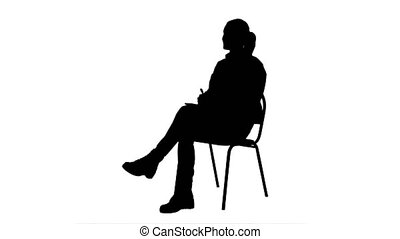 Silhouette Female doctor talking to a patien and writes in a...