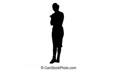 Silhouette Annoyed young woman having bad news from her...