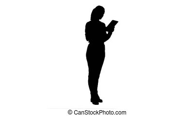 Silhouette Businesswoman standin with digital tablet and...