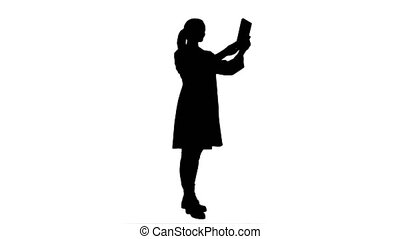 Silhouette Doctor greeting medical partenrs and have a conversation online via tablet.