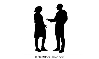 Silhouette Young medical students give each other five after...