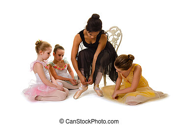 Little Ballerinas Learn to Tie Pointe Shoes - Young...