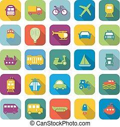 färg, skugga, transport, länge, ikonen