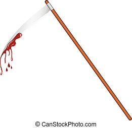 Scythe with bloody blade on white background