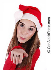 Woman portraying father christmas - Woman portraying father...