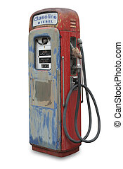Old gasoline pump, isolated - Old gasoline pump on white,...