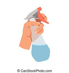 Hand holding glass cleanser spray vector flat isolated icon...