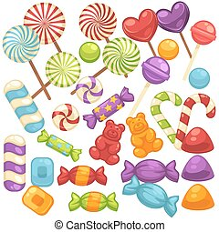 Candy and caramel sweets vector isolated flat icons set -...