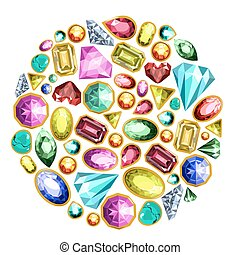 Gems and diamonds vector isolated icons set - Gems and...