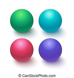 Collection of colorful glossy spheres isolated on white...