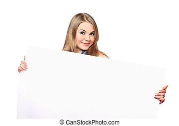 mujer, joven, alegre, Posar, tabla, blanco