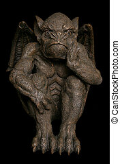 gargoyle on black background studio cutout