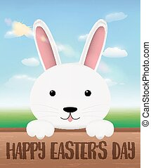white bunny on a wood board with happy easter day