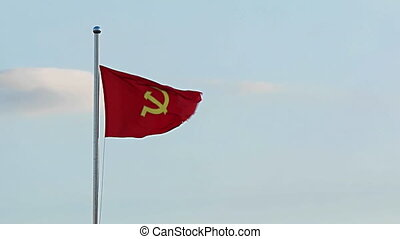 Communist Party Flag Flies in Vietnam. FullHD 1080p video -...