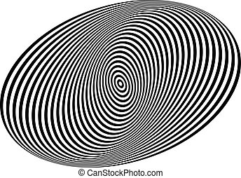 Concentric circles forming a spiral. Ovals, ellipses pattern