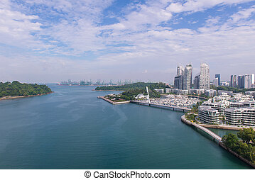 Cingapura, topo, telhado, centro cidade, arranha-céu, Rio, vista