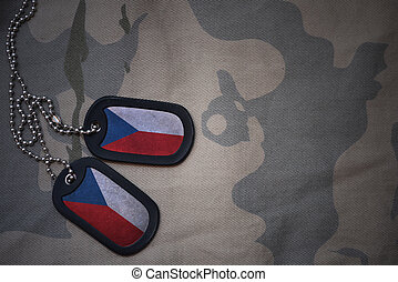 army blank, dog tag with flag of czech republic on the khaki...