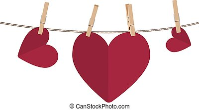 Heart on Rope - Colorful heart on a rope with wooden pegs.