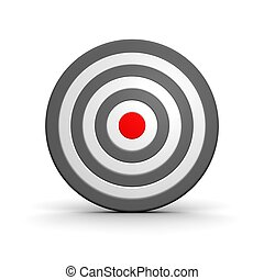 Black and white target with red center 3d rendered...