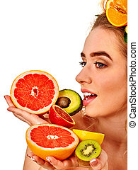 Hair and facial mask from fresh fruits for woman concept.