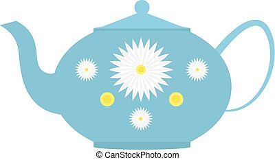 Ceramic teapot with flowers isolated on white background