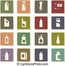 household chemicals icon set - household chemicals vector...
