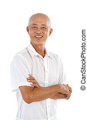 asian senior men - happy asian senior male smilling in the...