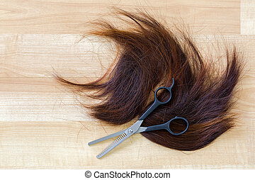 Pair of shears, thinning Scissors on bunch of trimmed cut...