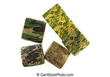 tyg, mönster, isolerat, Kamouflage, stretchable, bandage,...