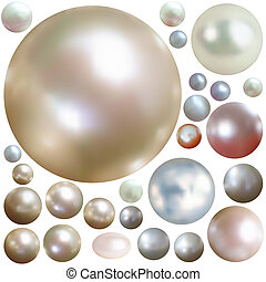 Collection of color pearls isolated on white. EPS 8 vector...