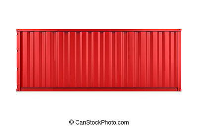Red Cargo Container Isolated