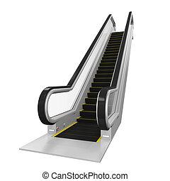 Escalator Isolated - Escalator isolated on white background....