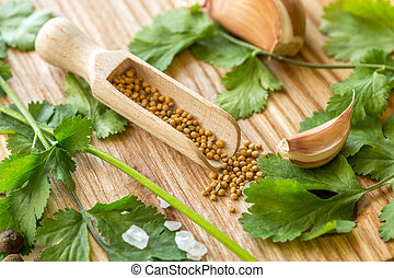 Cooking Additives. Parsley, garlic, pepper pots, mustard...