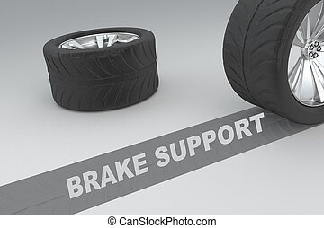 Brake Support concept - 3D illustration of 'BRAKE SUPPORT'...