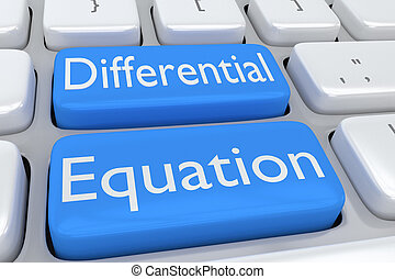 Differential Equation concept - 3D illustration of computer...